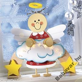 Fa angyalkás ablak dekor világító ív