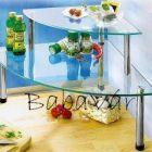 Dupla szintes üveg sarokpolc