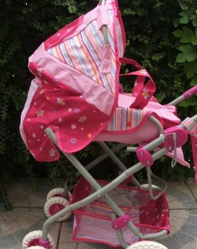 Játék babakocsi táskával rózsaszín d78a80041d