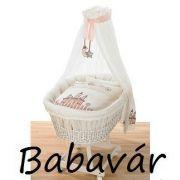 Alvi Rattan Bababölcső Fehér rózsaszín huzattal