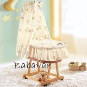 Alvi rattan bükk színű bölcső: natúr macis