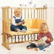 Babybay midi bölcsőhöz való pamut huzatos matrac fejvédővel sárga