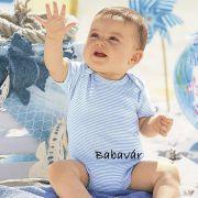 Belebújós rövid ujjú  body-Kék Csíkos