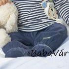 Bornino BISOUS & COUCOU kék puha kord bélelt babanadrág