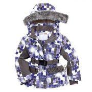 Bornino lila kocka mintás, szőrmés Kapucnis téli kabát