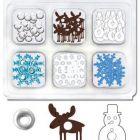 Dekor szegecsek: kék-fehér karácsonyos