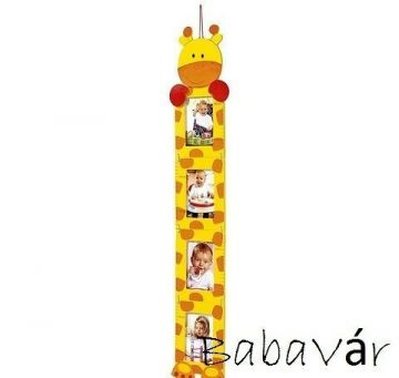 Fali képtartós magasságmérő fából: Zsiráf