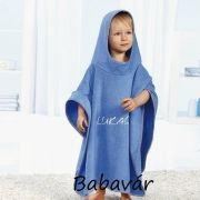 Kék frottír gyerek fürdő poncsó/kapucnis törölköző belehímzett névvel