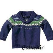 Kék kötött baba pulóver