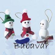 Kézzel készített hóember karácsonyfa dísz