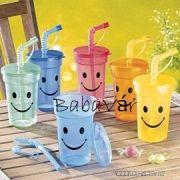 Műanyag szívószálas mosolygós nagy pohár