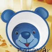 Mackós melamine gyerek mély tányér -kék