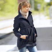 Mama Licious kék Gyapjú kismama kabát
