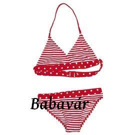 452c52921b Piros csíkos-pöttyös kétrészes kislány fürdőruha | BabaMamaOutlet.hu
