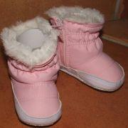 Rózsaszín szőrmés babacsizma