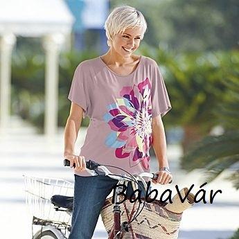 Star Collection lila mintás kismama póló