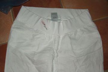 Star Collection fehér kismama lenvászon nadrág