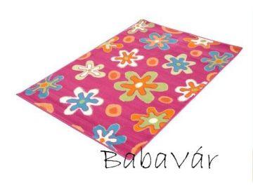 Rózsaszín virágos szőnyeg gyerekszobába 80x150 cm