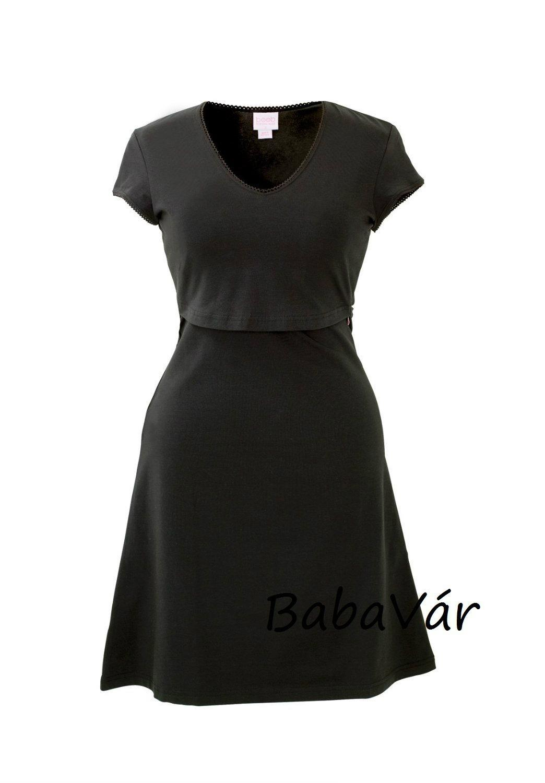 Boob Fekete rövid ujjú szoptatós  kismama ruha  cb6a594c88
