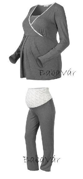 Star Collection csillagos szürke kismama szoptatós pizsama ... 5bd49bc42b