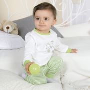 Bornino Hello World zöld csíkos cicás bocis pamut két részes pizsama