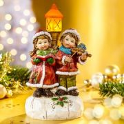 Karácsonyi kerámia gyerek figurák világító led lámpással