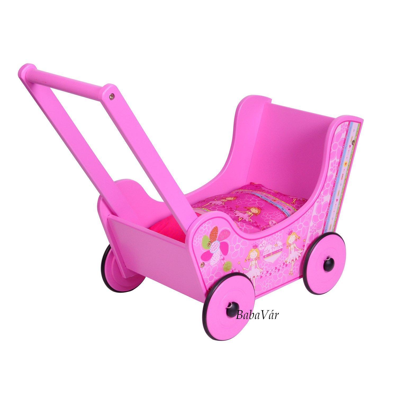 Knorr Toys Fa rózsaszín járássegítő babakocsi szépséghibás