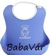 Babybjörn morzsatálcás műanyag előke kék