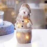 Mécsestartós műkő hóember figura 26cm