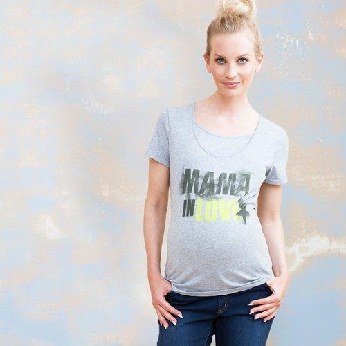 Star Collection szürke mintás szoptatós/kismama póló