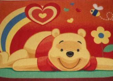 Bordó Micimackós gyerekszoba szőnyeg 95x130 cm