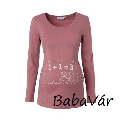 dfdb0ff206 2Hearts rózsaszín mintás hosszú ujjú kismama felső | BabaMamaOutlet.hu