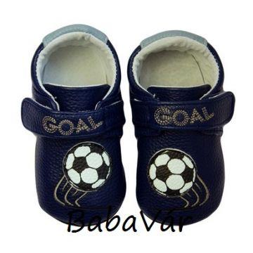 Rose Et Chocolat MiniZ kék focis tépőzáras bőr babacipő
