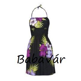 Fekete virág mintás nyári ruha strandruha  d7113417d2