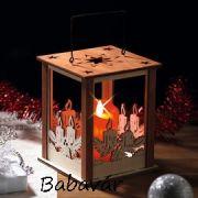Karácsonyi lámpás natur fából elemes gyertyával