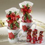 Mikulásvirágos karácsonyi bögre