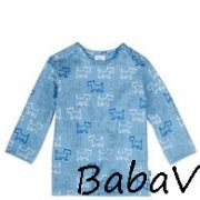 Sanetta kék kutyusos pamut baba felső/pizsama felső