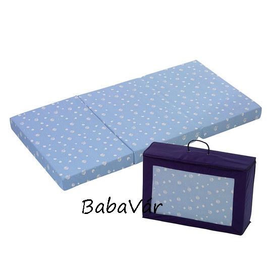 Alvi Hordozható utazóágy matrac 60×120 kék mintás