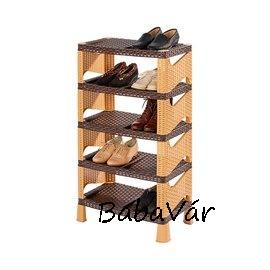 5 szintes műanyag/műrattan cipőtartó polc