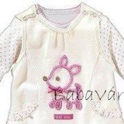 Bornino fehér/rózsaszín pöttyös baba felső