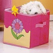 Textil játéktároló: Sárga virágos