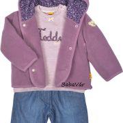 Steiff lila kapucnis macis kislány polár kocsikabát