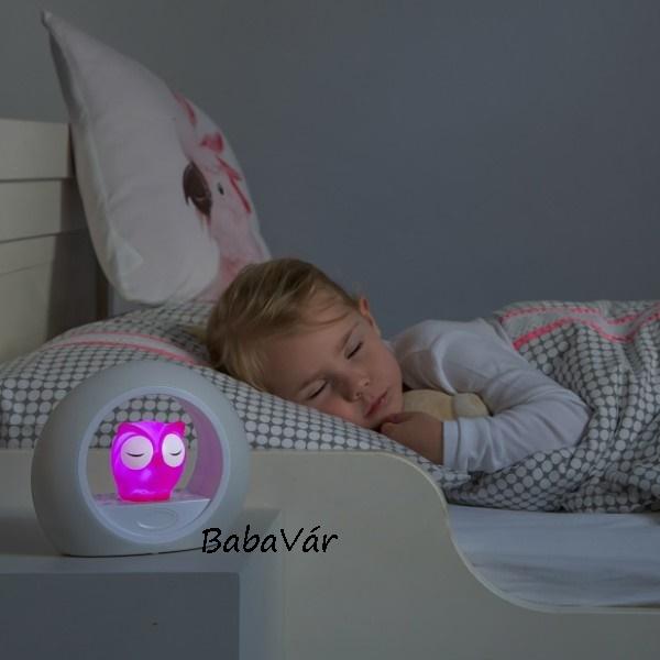 Zazu kétfunkciós Baglyos éjjeli fény/asztali lámpa rózsaszín