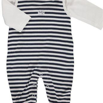 Feetje kék/fehér csíkos pamut rugi szett H.