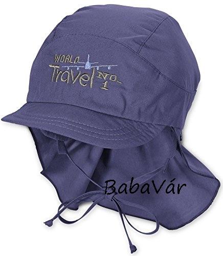 Sterntaler kék nyakvédős uv 50+ vászonsapka- World Travel ... d758af9762