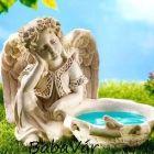 Kerti dekor : Nagy madáritató/madárfürdő angyal