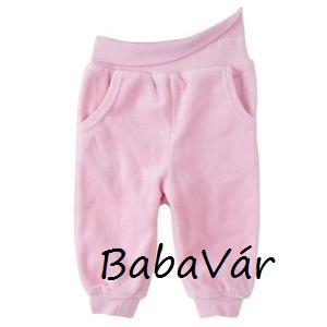 Rózsaszín plüss zsebes passzés babanadrág