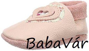 Pololo rózsaszín szíves  kézzel készített bőr babacipő