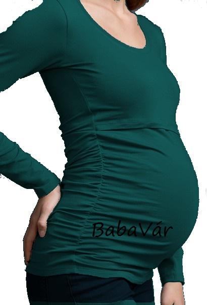ac376093fa Boob Ruched Top Long zöld Szoptatós felső | BabaMamaOutlet.hu