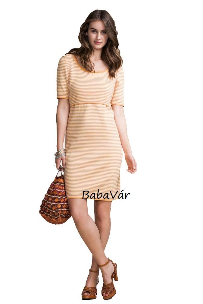 Boob Knitted Dress narancs csíkos kötött szoptatós kismama ruha ... a02d3ad51c